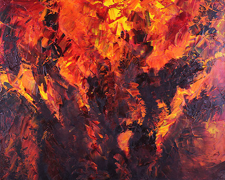 The greatest abstract oil paintings in the world. Fire, 2017